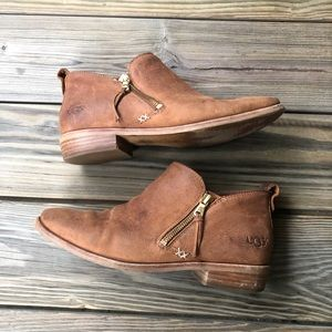UGG Glee Leather Ankle Booties